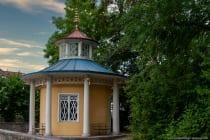Das Schellenhaus liegt am südlichen Haupteingang zum Kurpark Bad Mergentheim.