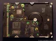 Eine Maxtor (Quantum) Festplatte 80GB mit Blick auf die Elektronik geschützt durch eine Plastikabdeckung.