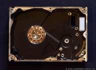 Die endgültig demontierte (ausgeschlachtete) Festplatte mit Spule.