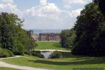 Blick auf den Fontänenteich und Schloß Wilhelmshöhe
