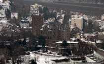 Burgen am Rhein - Burg Klopp in Bingen vom Schnee umgeben.