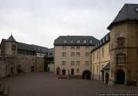 Ansicht vom Innenhof der Burganlage Waldeck. Die Burganlage ist oberhalb des Edersees am Nordufer.