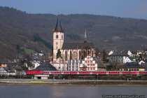 Weinstadt Lorch am Rhein. Mitten im Rhein liegt eine unter Naturschutz stehende Insel, welche zu Lorch gehört.