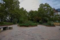 Im Jahre 1981 wurde die grüne Brücke, eine Kunst und Naturlandschaft, eingeweiht. Die grüne Brücke, ein Projekt von Dieter Magnus, überspannt die Rheinstraße und verbindet die Feldbergstraße mit dem Feldbergplatz. Ein kleiner Wasserbrunnen und Wasserfall waren schon immer ein zentraler Treffpunkt auf der begrünten Anlage, dabei kann diese zu Fuß anhand der Treppen, oder mit dem Rad und Rollstuhl barrierefrei von einer Seite zu anderen überquert werden. In den folgenden Jahren hat die parkähnliche Naturanlage Ihr Aussehen, durch Graffitis und Klebeschilder, verloren. Die Anlage befindet sich Ende 2019 in einen erbärmlichen Zustand. Die Stadt Mainz hat längst Umgestaltungspläne, wobei die Idee eine hohe Zustimmung findet, aber es herrscht Uneinigkeit mit dem Umweltkünstler Magnus.