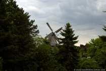 Historische Windmühle als Holländermühle mit Umgangsgalerie