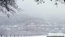 Eine Ortschaft versinkt im Schnee und Nebel.
