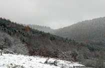 Der winterliche Odenwald von der Ortschaft Schneeberg fotografiert