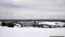 Verschneites Oberneudorf bei Buchen im Odenwald im  Februar 2019