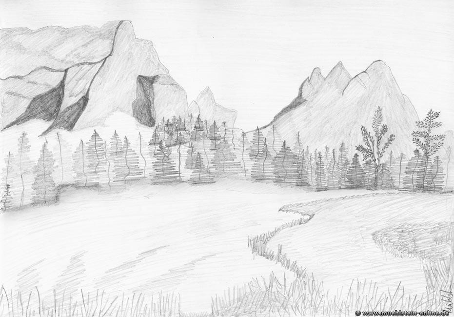 Eine Landschaftskulisse mit Bleistift auf ein Din A4 Blatt gebracht.