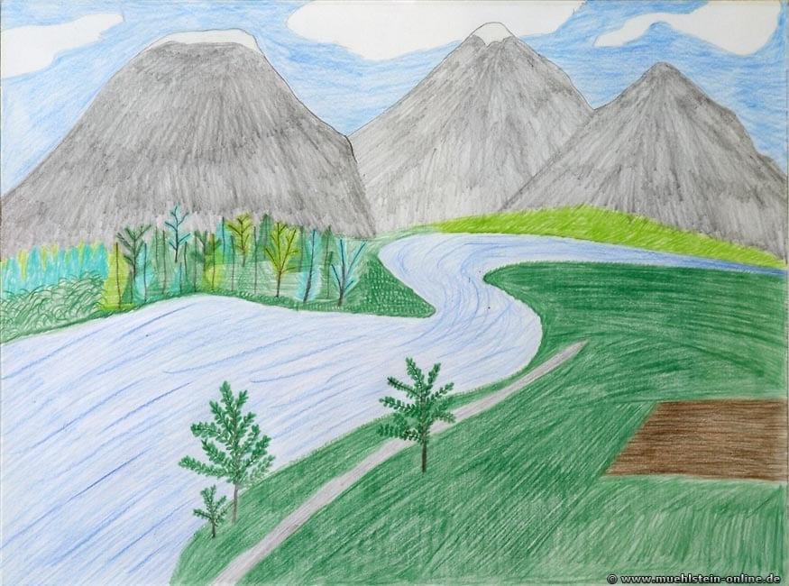 Die Illusion von Tiefe auf einem Bild darzustellen, war die Grundidee bei diesem Bergbild.