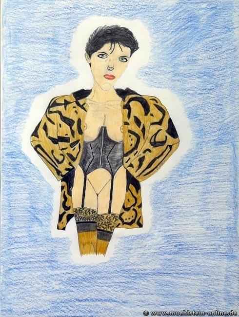 Eine leicht bekleidete Frau im Mantel mit Korsett und Strapsen auf einem Din-A3 Papier.