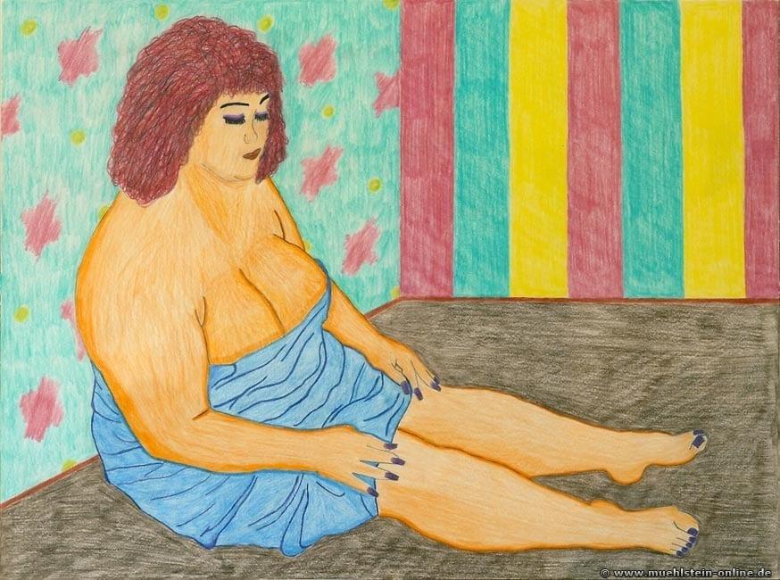 A Woman with red hair shows her legs. Eine Rothaarige & vollbusige Frau zeigt Beine.