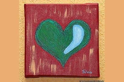 Artwork Acryl-Herz auf einem Keilrahmen