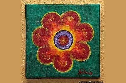 Artwork Die Blume. Malen mit Acrylfarbe.