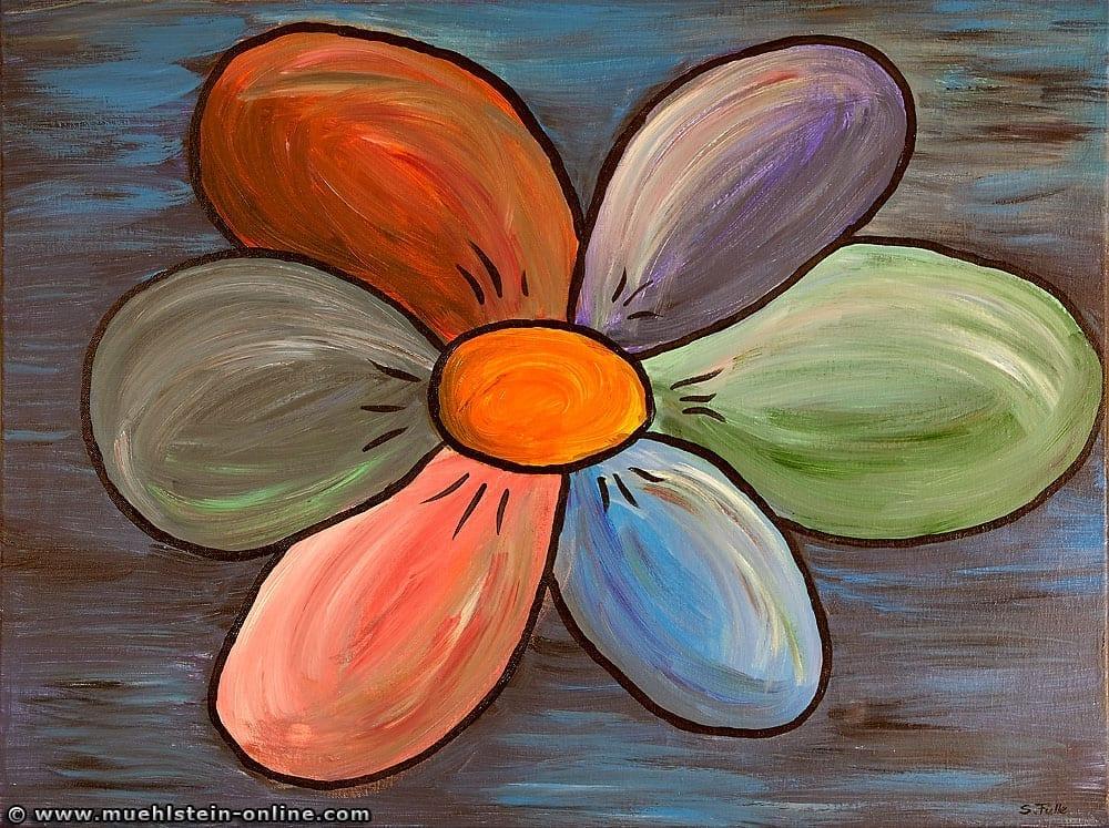 Eine bunte Blume in Acryl