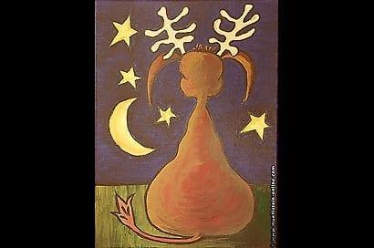 Acrylbild Elch im Mondschein mit Sternen