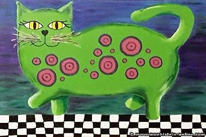 Die grüne Katze wird rot geringelt