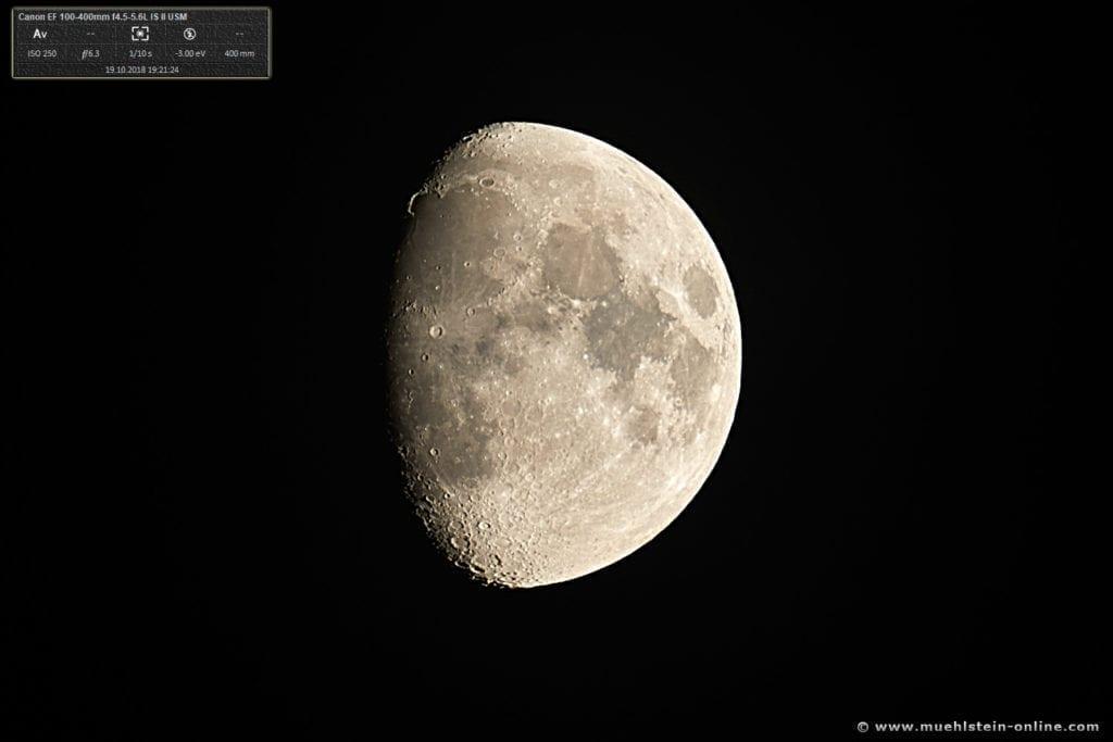 Der Mond, fotografiert am 19. Oktober 2018