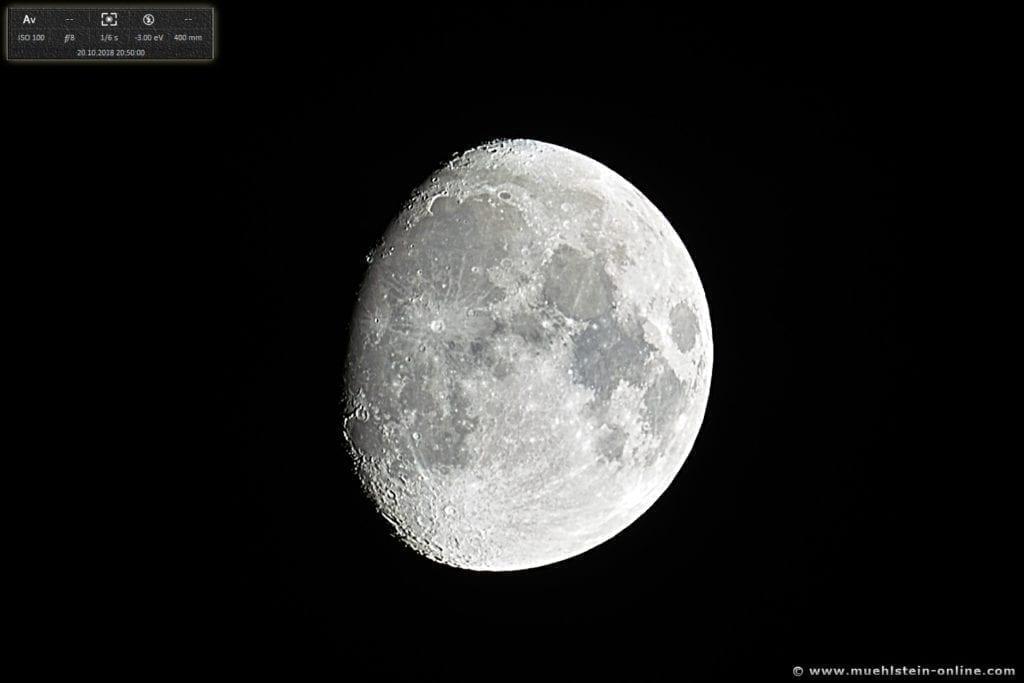 Der Mond, fotografiert am 20. Oktober 2018