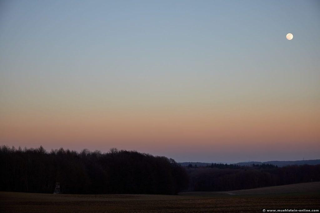 Vollmond mit Sonnenuntergang