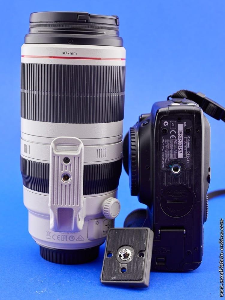 Objektiv, Kamera und Stativplatte. An jedem schwereren Objektiv ist eine Stativschelle mit Aufnahmegewinde für eine Schnellwechselplatte. Ebenso besitzt jede DSLR und DSLM ein Aufnahmegewinde für eine Stativplatte.