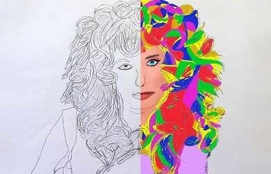 Artwork Frau mit löwenartiger Haarpracht